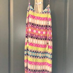 Multi colored tank dress with tassels